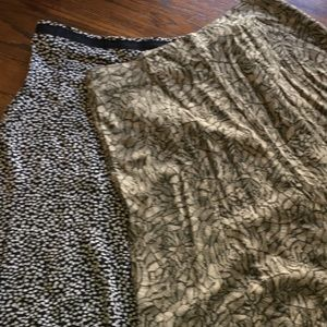2 skirts Rayon C&B green and black n white size 10